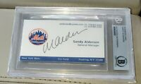 2015 NLCS Mets GM Sandy Alderson Signed Business Card Certified Beckett Auto