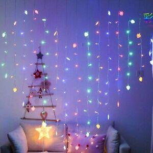 Heart-Shape 128 LED Curtain Lights String Fairy Light Valentine's Day XMAS Party