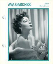 Ava Gardner 1950s Actress Movie Star Card Photo Front Biography on Back 6 x 7""