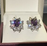 Oval purple amethyst +sim diamond silver (white gold gf) stud earrings BOXD Plum