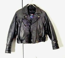 Vtg Vance Black Leather Zip Lined Motorcycle Jacket Sz L