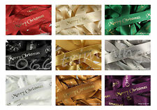 Merry Christmas Ribbon With Foil Print by Berisfords 10mm & 25mm Widths