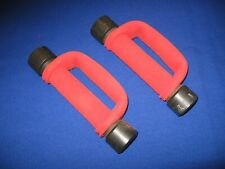 Pair of 2 Vintage AMF HeavyHands Walking Weights w/ 2 lb Add On Weights Red