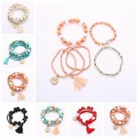 Multilayer Beauty Head Coin Tassel Bangle Beaded Bracelet Fashion Jewelry Gift