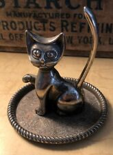 Vintage Ring Holder Cat Kitten On Miniature Tray By Zeller Silver Plated Patina