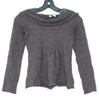 Moth Anthropologie Womens Sweater WOOL Hooded Brown Small J1