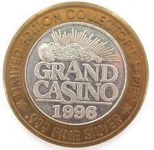 "1996 GRAND CASINO LIMITED EDITION .999% FINE SILVER ""ROYAL FLUSH"" TOKEN."