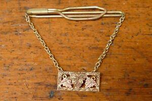 Vintage Anson 10k Black Hills Gold Tie Clip w/ Chain
