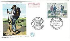 """Carte premier jour du timbre """"Courbet"""" de 1962. Variété """"bâton dédoublé""""."""