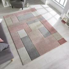 Modern Cosmos Dusky Pink Hand-Carved Geometric Rugs Textured Pile 160X230CM