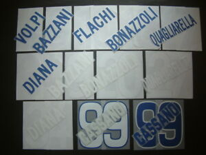 KIT NOME+NUMERO UFFICIALI SAMPDORIA H/A/3RD 2005-2010 OFFICIAL NAMESET PLAYER SZ