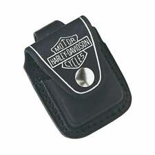 More details for harley-davidson x zippo lighter pouch black leather