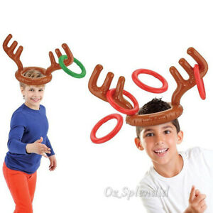 Inflatable Antler Reindeer Hat Ring Toss Xmas Birthday Game Party Holiday Toys
