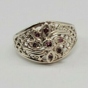 Classy Unique Sterling Silver Size 6 Weaved Flower Design Ring Red Stones