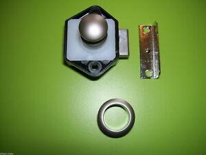 X5 25MM NICKLE PUSH BUTTON CUPBOARD CATCHES COMPLETE, CARAVAN, MOTORHOME, CAMPER