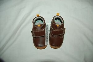 M&S Walkmates Brown Leather Rip Tape Boots Shoes UK 4 Infant EUR 20.5 BNWT