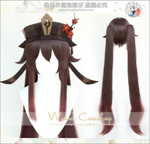Genshin Impact 胡桃 Hu Tao Cosplay Wig Bunches Gradient Brown Hair 110cm Wig