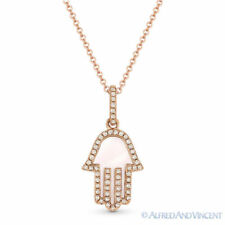 0.85 ct Mother-of-Pearl Diamond 14k Rose Gold Hamsa Hand Evil Eye Charm Necklace