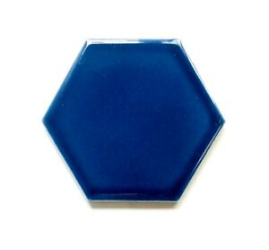 4 inch Blue Hexagon Ceramic Decorative insert Wall Tile Kitchen Arts (1 piece)