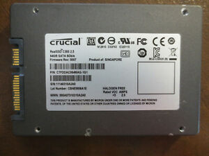 "Crucial CTFDDAC064MAG-1G1 FW Rev:0007 CBNEM06A1E 64gb 2.5"" Sata SSD"