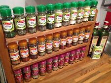 Hand Made Wooden Rustic Spice herb Rack can hold 66 Schwartz jars display stand