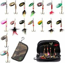 16x Tackle Kit Spoon Jig Fishing Lures Metal Spinners Bait Bass Trout Freshwater