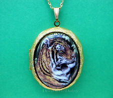 Cats Pretty Porcelain BENGAL TIGER CAMEO Costume Jewelry Locket Pendant Necklace