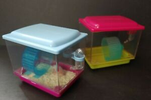 Set of 2 American Girl Class Hamster Cages, Blue & Pink