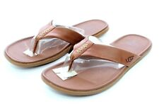 UGG Delray Nubuck Men's Flip Flops Sandals Thongs Chestnut Size 12 US