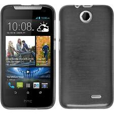 Silicone Case HTC Desire 310 brushed silver + protective foils