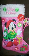 """Disney Minnie Mouse 20"""" Pink White & Green Christmas Stocking Nwt"""