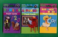 3 Packs Of Sesame Street Flash Cards - Words - Numbers - Abc's - 36 Cards Ea.