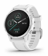 Garmin Fenix 6S  Montre GPS 42mm Boîtier avec Blanc Silicone Bracelet - Silver Acier inoxydable Lunette