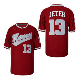 Throwback Derek Jeter #13 Kalamazoo Central Maroon Baseball Jersey Stitched