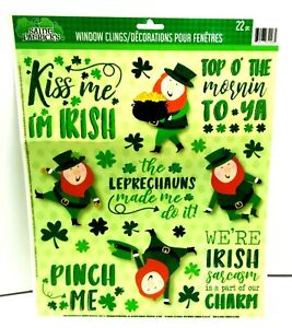 ST Pattys Day Reusable Window Clings - LEPRECHAUNS Word Sayings SALE