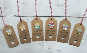"""Pack of 6 """"Happy Birthday"""" Gift Tags with wooden cake embellishment"""