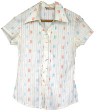 HS Juniors Geometric White Collared Button Up Top Short Sleeve Shirt M SEE MEASU