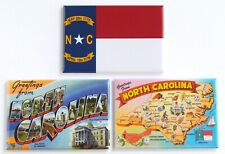Greetings from North Carolina Fridge Magnet Set travel souvenir flag map