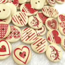 10/50/100pcs Mix Red Heart Decorative Buttons 2 Holes Sewing Scrapbooking WB342