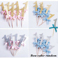 12PCS GLITTERING NUMBER 1 BOWKNOT BIRTHDAY CAKE CUPCAKE TOPPER PARTY SMART