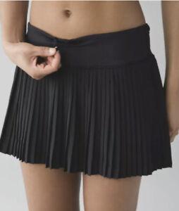 Lululemon Skirt 4 Black Pleat To Street II Pleated Back Zip Pocket Tennis