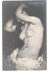 390/ Vintage postcard Beautiful Posing model Nude woman