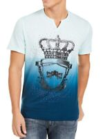 INC Men T-Shirt Blue Size 2XL Ombre Crown Studded Slub Knit Graphic Tee $29- 313