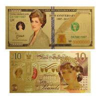 WR 24 k Gold Prinzessin Diana 10 Pfund und 1 Million Dollar Sammler Banknote Set