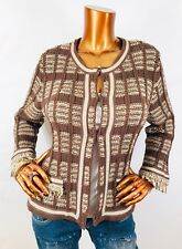 Chico's 2 or M/L Cardigan Sweater Stretch Long Sleeves Brown Send Fringe Crop