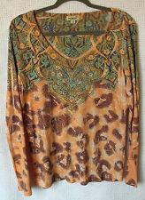 oneworld Long Sleeve Printed Embellished Top Size XL