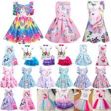 Kids Baby Girls Unicorn Summer Dress Princess Party Sundress Tutu Outfit Clothes