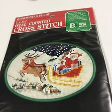 Santa's Flight Designs for Needle Oval Counted Cross Stitch Kit 4106 Vintage1986