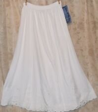 JANE ASHLEY GORGEOUS CUTWORK & EMBROIDERED A-LINE SKIRT WASHABLE WHITE SM/ME NEW