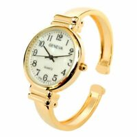 New Gold Geneva Metal Band Slim Case Women's Bangle Cuff Watch